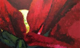 painting- red flower closeup