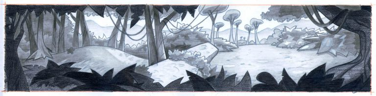 pencil- jungle mural